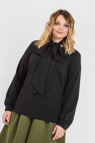 Черная блузка с завязками из софта большой размер