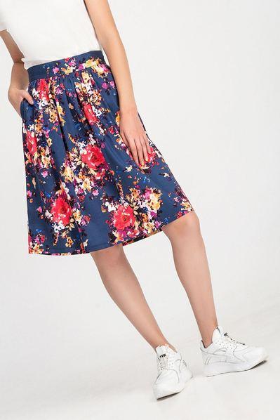 Темно-синяя юбка деми принт золотые цветы