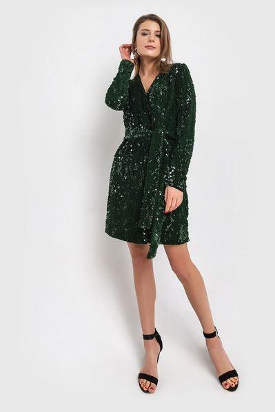 Велюровое платье с пайетками и запахом изумрудное