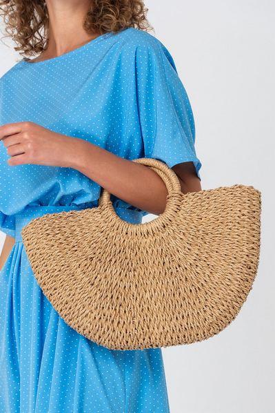 Плетеная сумка из рисовой соломы полумесяц