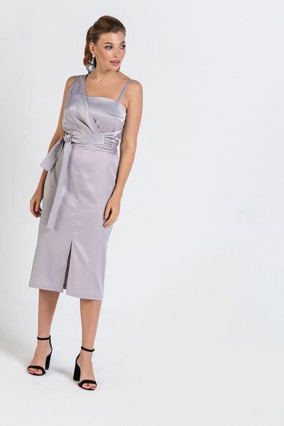 Атласное платье до колена без рукавов графит