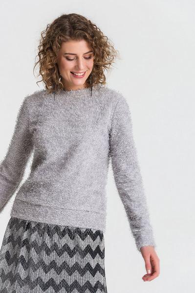 Трикотажный свитер с ворсом графитовый
