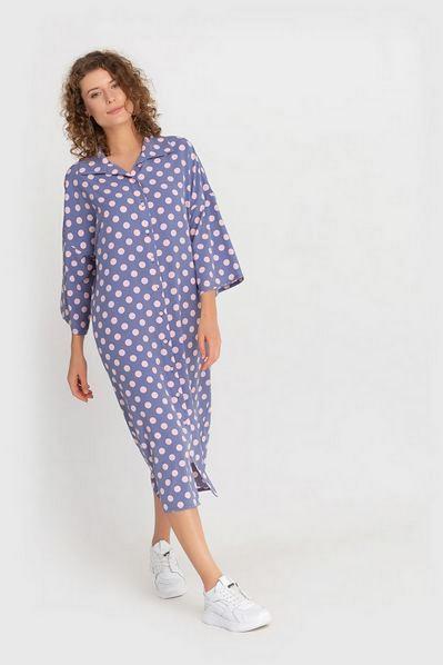 Кимоно платье-рубашка в горох на светло-графитовом