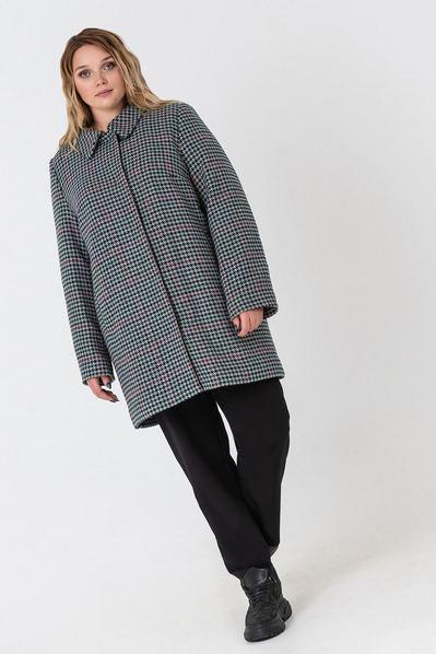 Зимнее пальто с воротником принт гусиная лапка на графитовом большой размер