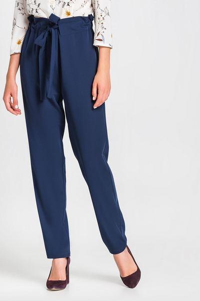 Женские брюки с кулиской из костюмной ткани темно-синие
