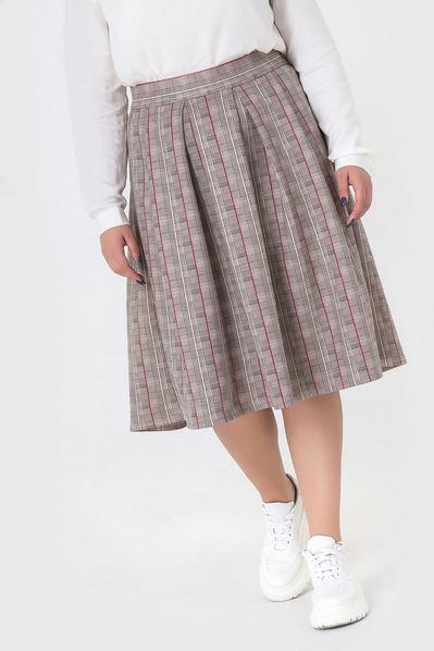 Замшевая юбка розово-графитовая полоска на песочном большой размер