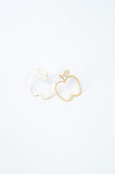 Серьги яблоки матовые золотистые