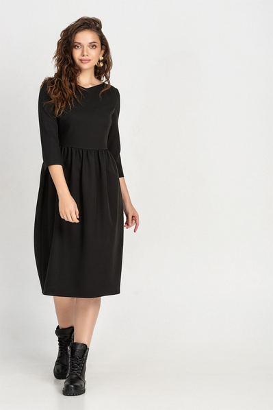 Черное платье куколка до колен из костюмной ткани большой размер