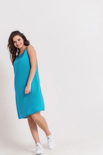 Голубое платье майка из штапеля большой размер