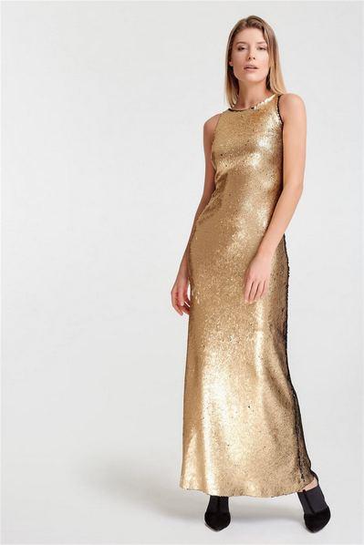 Длинное платье-майка из золото-черных пайеток