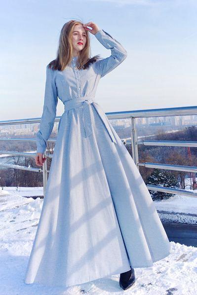 Платье рубашка в пол в мелкую бело-голубую полоску