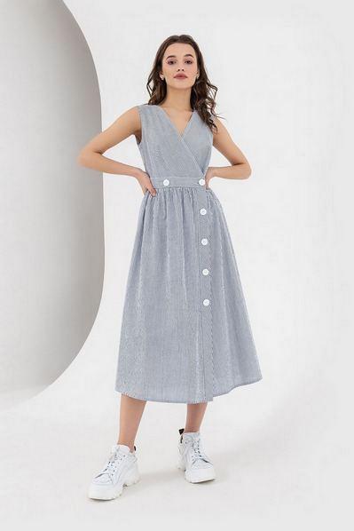 Платье без рукавов с пышной юбкой в сине-молочную полоску