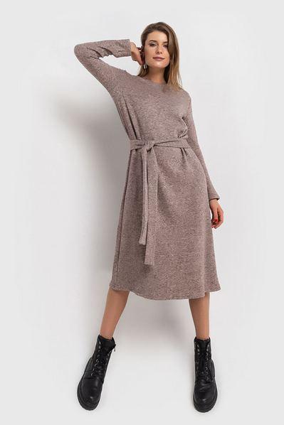 Теплое платье миди с поясом из ангоры цвета мокко