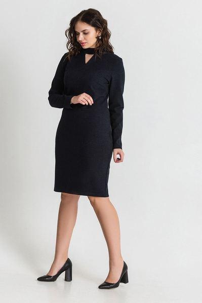 Черное платье трикотажное с треугольным вырезом большой размер