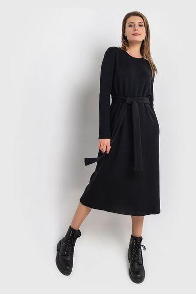 Черное платье миди с поясом из ангоры