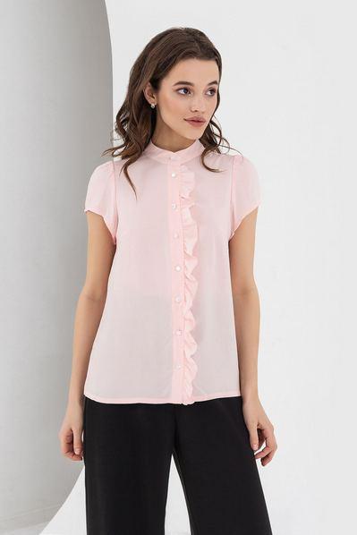 Летняя блузка с оборкой пудровая