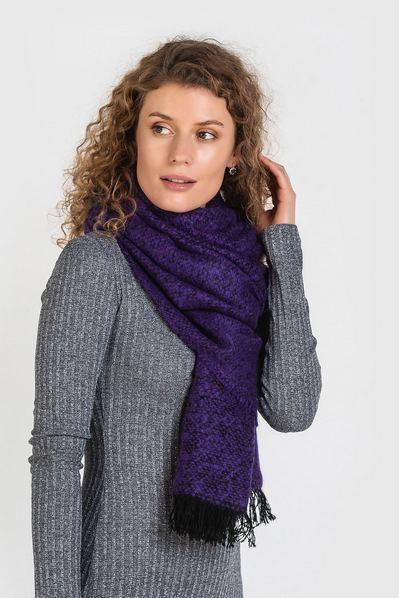 Теплый шарф фиолетовый меланж