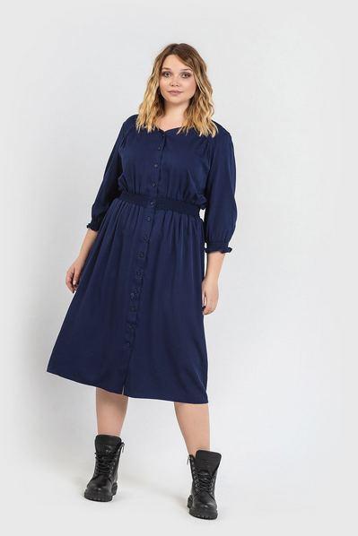 Темно-синее платье до колен из плотного штапеля большой размер