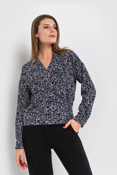Синяя блузка с запахом принт цветные круги