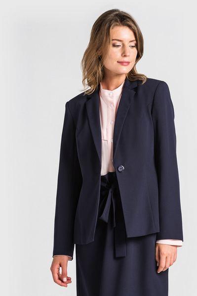 Женский жакет из костюмной ткани темно-синий