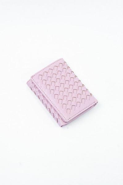Кошелек маленький плетеный розовый
