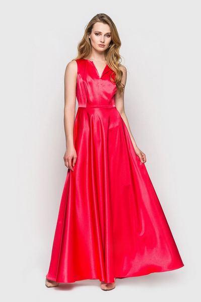 Длинное платье атласное пурпурно-розовое