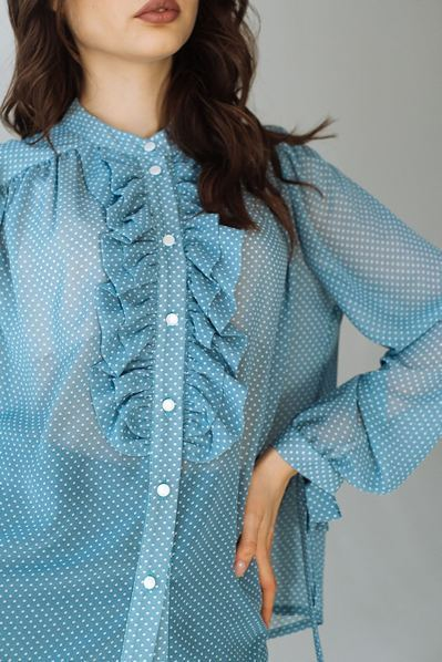 Блуза с оборками белый горох на темно-бирюзовом