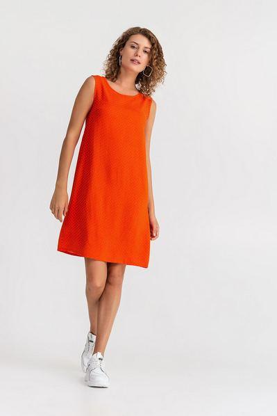 Оранжевое платье майка в горох