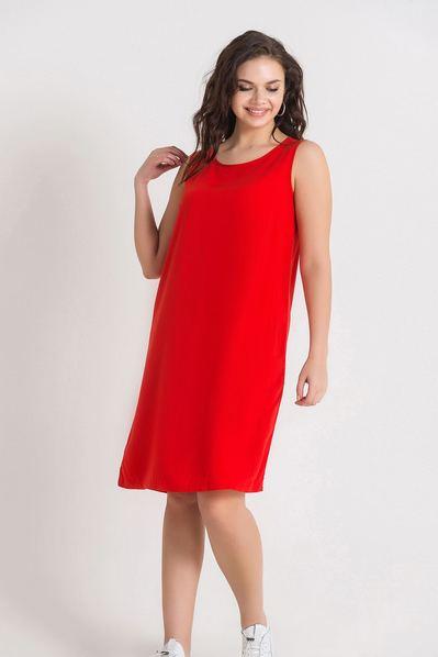 Красное платье майка из штапеля большой размер