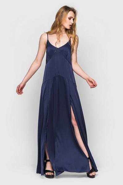 Длинное платье синее с разрезами