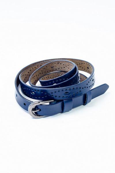 Кожаный ремень с перфорацией-узором синий
