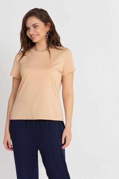 Летняя футболка кремовая с люрексом большой размер