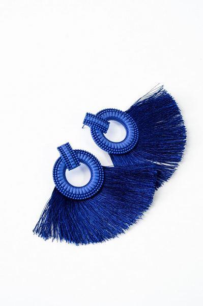 Серьги полимерные с бахромой синие