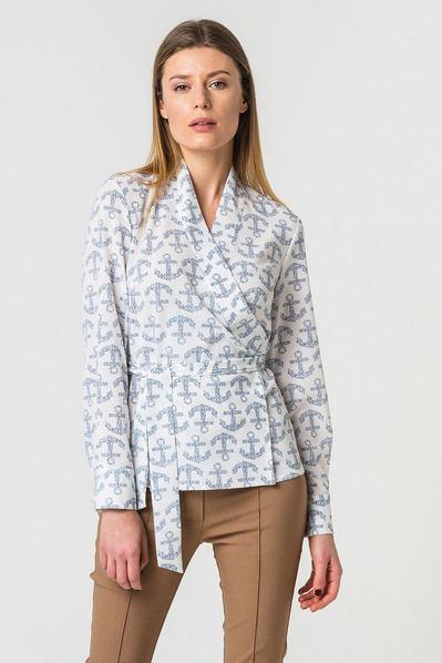 Блузка с запахом из креп-шифона принт якоря на молочном