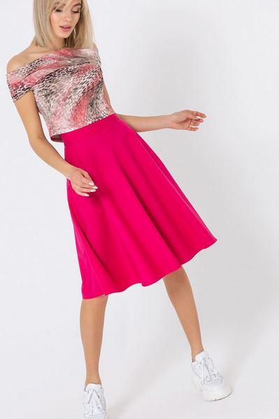 Ярко-розовая юбка полусолнце из костюмной ткани