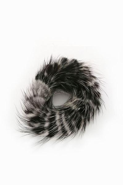 Резинка из натурального меха бело-черная