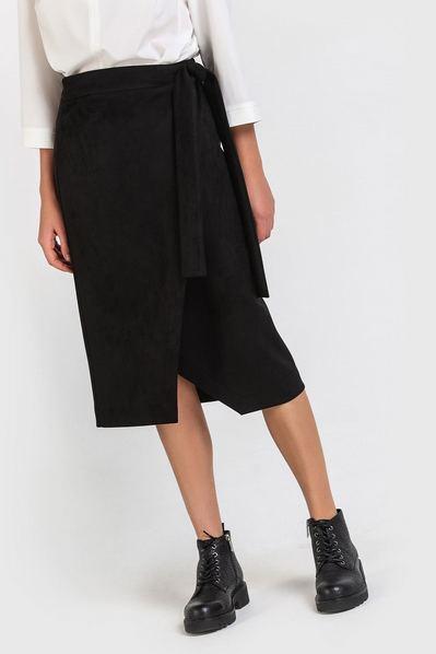 Черная юбка замшевая на запах