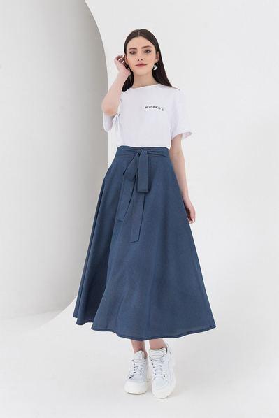 Темно-синяя юбка в горох из софта