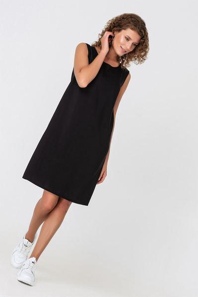 Летнее платье майка черное из штапеля
