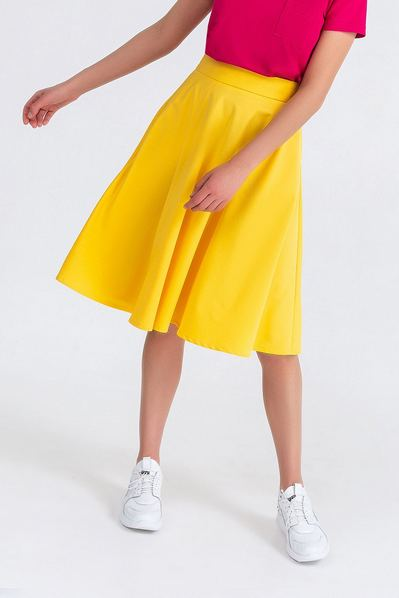 Летняя юбка полусолнце из костюмной ткани лимонная