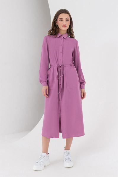 Ярко-сиреневое платье миди с кулиской