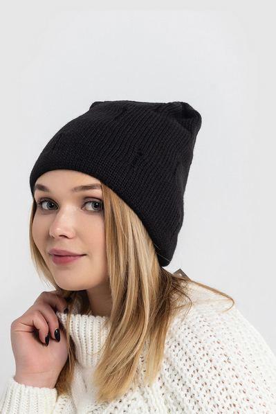 Вязаная шапка черная с потертостью