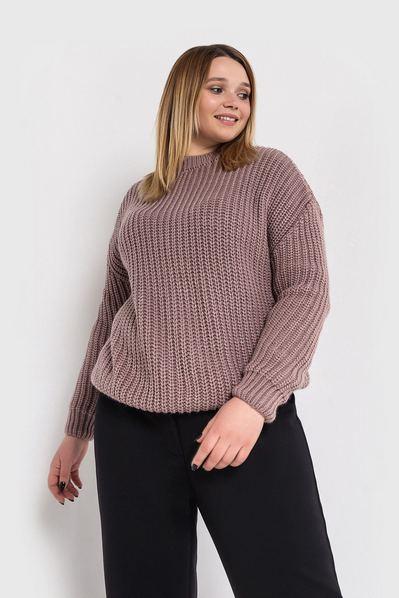 Женский свитер вязаный темно-фрезовый большой размер