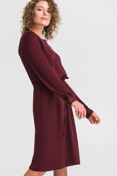 Трикотажное платье из ангоры бургунди с кулиской