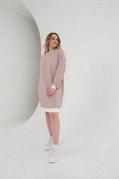 Фрезовое платье свитшот из трикотажа большой размер