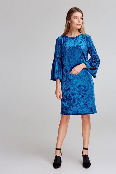 Прямое велюровое платье с оборками на рукавах темно-бирюзовое