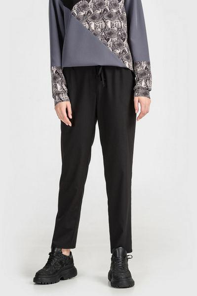 Черные брюки прямые с кулиской