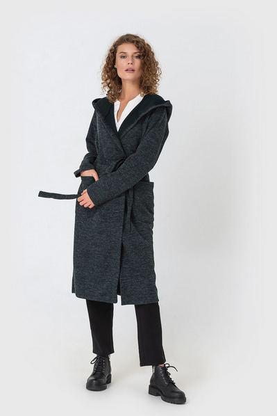 Женское пальто-кардиган с капюшоном изумрудное