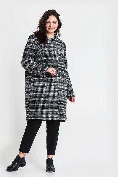 Женское пальто без воротника шерстяное графитово-черный меланж большой размер