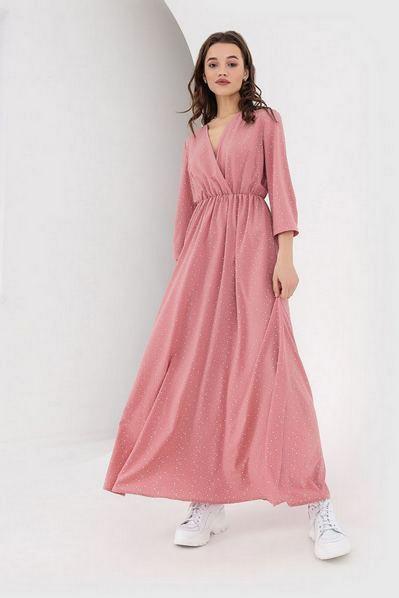 Длинное платье на запах капли на фрезовом